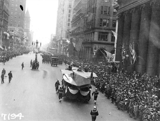 Black and white image of a large parade in downtown Philadelphia, circa 1918