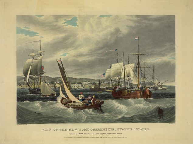 "Painting of boats at sea, with caption ""View of The New York Quarantine, Staten Island."""