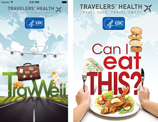 Posters of Travelers and Health Apps:  TravWell and Can I eat this?