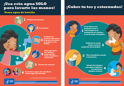 Spanish poster to help children follow health practices (handwashing and sneezing)
