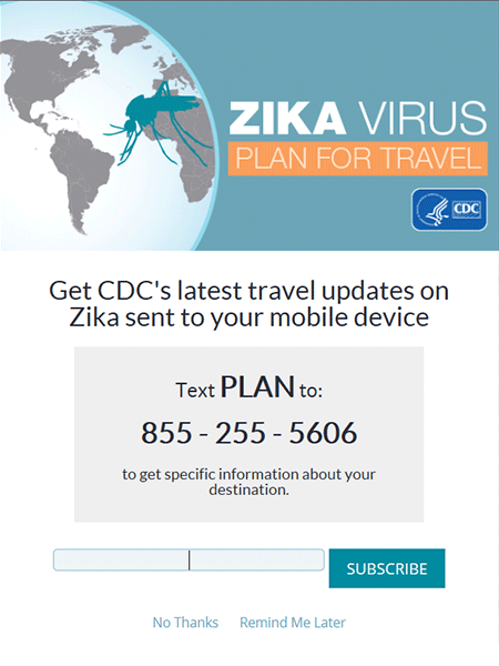 Poster for CDCs Zika text message system