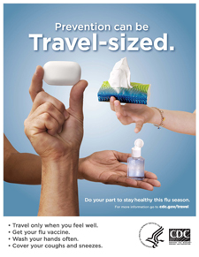 Poster titled Prevention can be travel-sized shows hand holding a bar of soap.