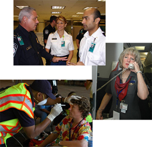 Collection of three images: Three quarantine station workers talking, Man wearing a mask examining a passenger in an airport, flight attendant making an announcement on an airplane