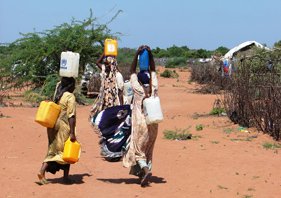 Women carrying water in Dadaab refugee camp