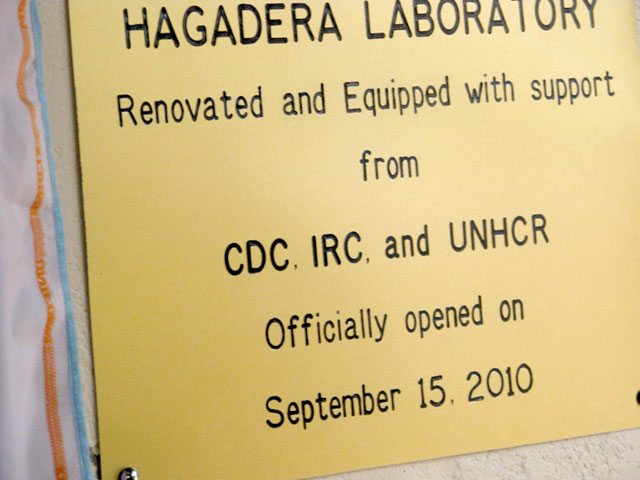 A plaque that hangs outside the lab in Hagadera Camp, part of the Dadaab Refugee Camp Complex.