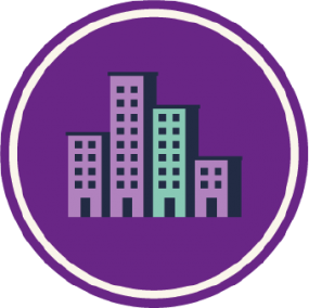 Icon of buildings labeled: Health Departments.
