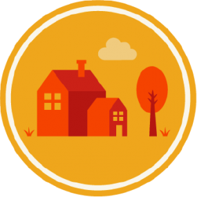 Icon of a home labeled: Communities.