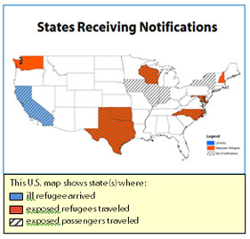 Map of the United States that shows states receiving notifications.  Three different shades highlight specific states.  The first is shade shows ill refugee arrive - this is California.  The next shade shows exposed to refugees traveled.  These states are Oregon, Oklahoma, Texas, Wisconsin, North Carolina, Maryland, and New Hampshire.  The last shade shows states with exposed passangers traveled.  These states are California, Oklahoma, Texas, Iowa, Wisconsin, Illinois, Indiana, North Carolina, Maryland, and New York.