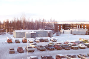 An aerial photograph of Arctic Investigations Program's previous building.