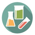 Icon of beakers and test tubes to represent 'Enhance laboratory capacity'