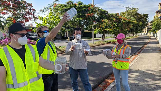 The Puerto Rico Vector Control Unit release mosquitoes with Wolbachia in Ponce, Puerto Rico.