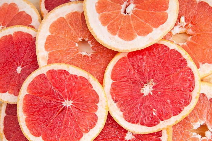 Multiple slices of grapefruit