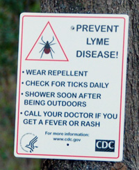 Photo of Sign: Prevent lyme disease tips