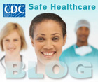 Safe healthcare blog button showing three healthcare employees