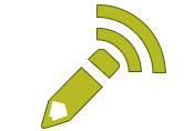 An image of a pencil icon combined with the rss icon to convey blog posts.