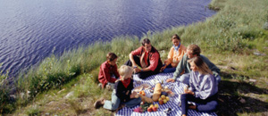 Thumbnail of people having a picnic by the water
