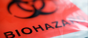 thumbnail image, close-up of biohazard bag with the traditional red label