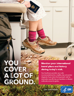 Travelers' Health Poster - You cover a lot of ground. Patient in exam room holding a passport. On their feet are hiking shoes and the exam room transitions from a linoleum floor transitions to a grassy trail.