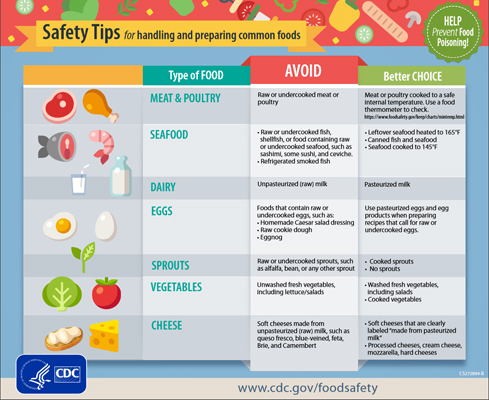 image with link to PDF of Food Handling Safety Tips