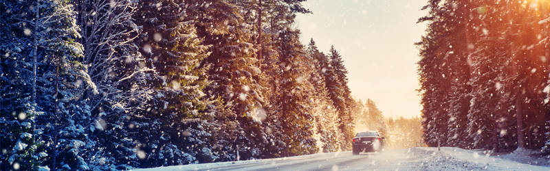 picture of car traveling down a road with snow covered trees and a setting sun