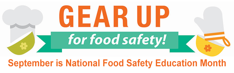 Slider image - Illustration of a cooking bowls, a chef's hat and an oven mitt with the words: Gear up for Food Safety