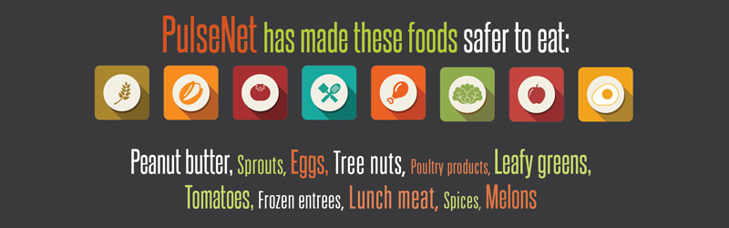 "Graphic with words: ""PulseNet has made these foods safer to eat:"" Icons in different colors symbolize the words at the bottom of the image. ""Peanut butter, sprouts, eggs, tree nuts, poultry products, leafy greens, tomatoes, frozen entrees, lunch meat, spices, melons"""