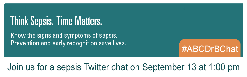 Slider image - Teal image about a twitter chat on Sept 13 at 1 pm and the words: Think Sepsis. Time Matters