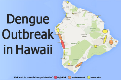 Link to What's New  - Image of light blue background behind island of Hawai'i showing areas risk for Dengue Fever infection