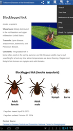 Screenshot from the Tickborne Diseases mobile app showing blacklegged tick and ways to identify it.
