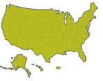 small image of a us map with states shown in green and outlined black, includes Alaska, Hawaii and Puerto Rico