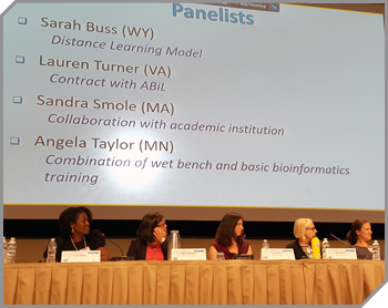 Four women panelists at AMD with moderator Tiki Barnes