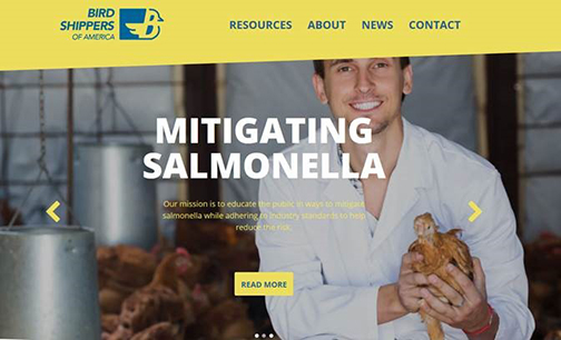 Screenshot from Bird Shippers of America showing a man holding a chicken and the words: Mitigating Salmonella