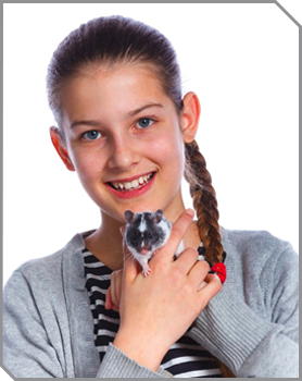 Girl holding a pet rodent
