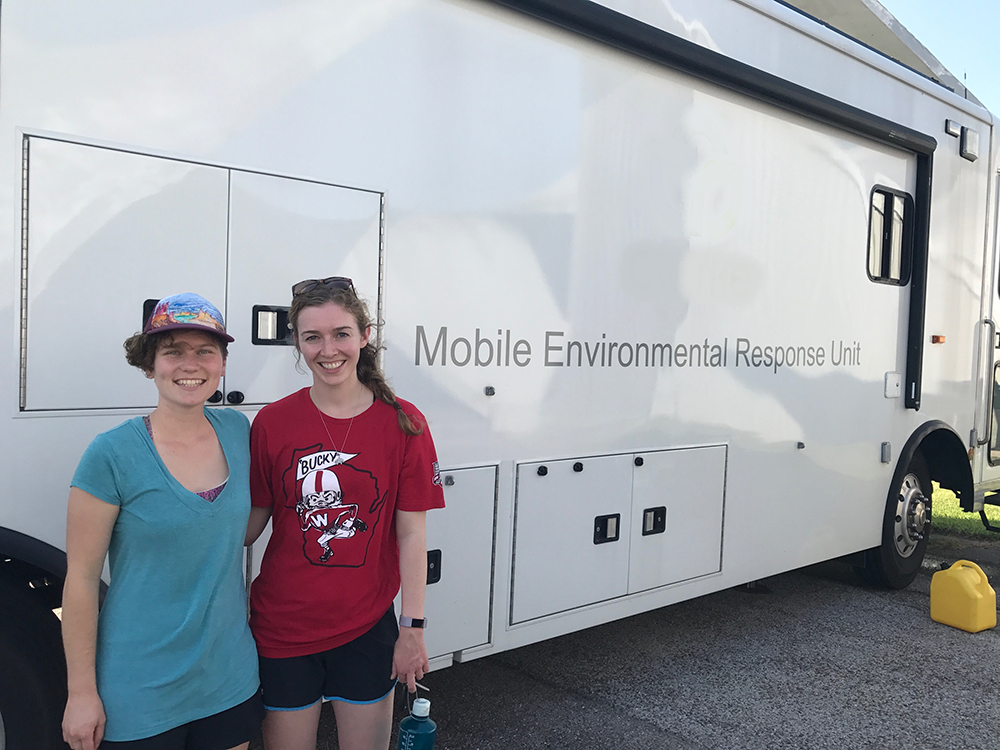 Student responders identified species of mosquitoes in this laboratory, a converted mobile home, during the disaster response in Texas to Hurricane Harvey.