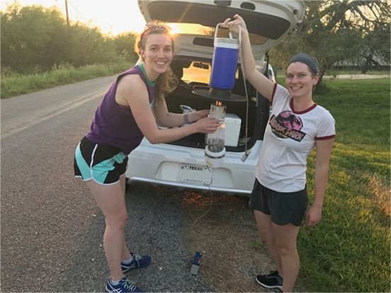 Student responders assisted the on-site mosquito control unit with control activities like setting CDC Light Traps to collect mosquitoes during the disaster response in Texas to Hurricane Harvey.