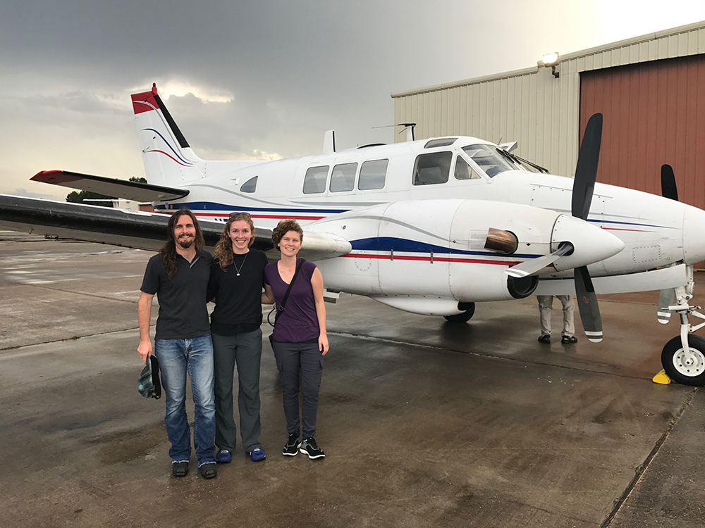 Student responders assisted with data collection for aerial spraying to control mosquitoes during the disaster response to Hurricane Harvey.