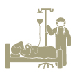 silhouette image of a person in hospital bed with health provider adjusting iv bag