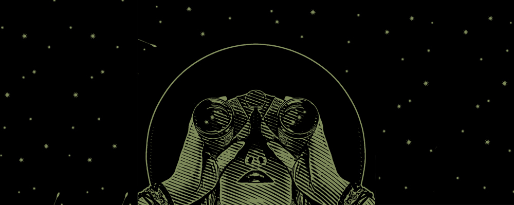 An illustration of a woman holding binoculars and looking into the stars