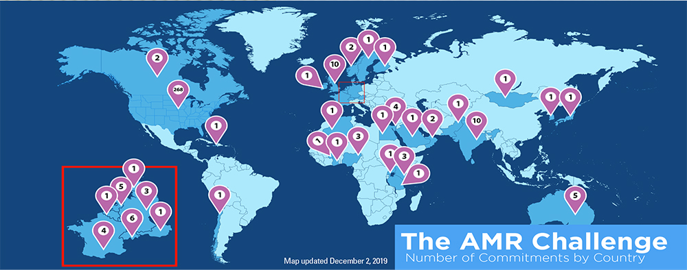 The AMR Challenge - Number of commitments by country with a map updated December 2, 2019