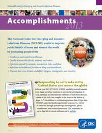 Cover page for NCEZID 2013 Accomplishments