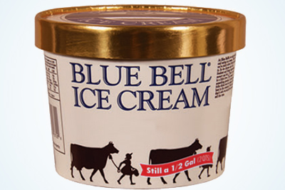 Image shows a gallon container of Blue Bell ice cream