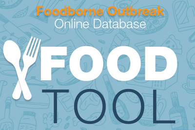 ALT TAG - Image of blue background with the words: FOOD TOOL - Foodborne Outbreak Online Database