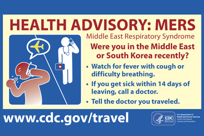 Image of Health Advisory notice about MERS for those traveling from Middle East or South Korea