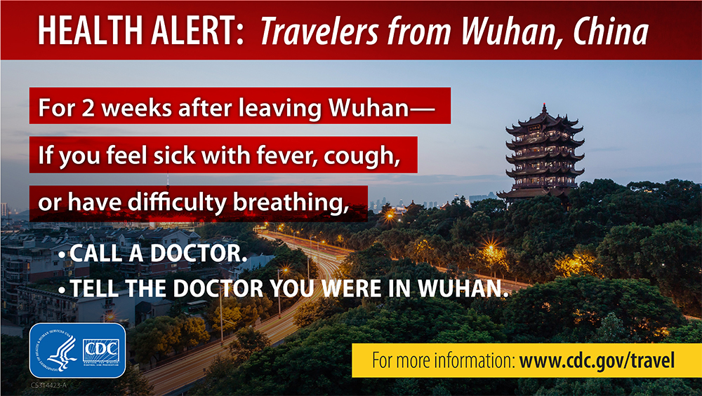 Health Alert: Travelers from Wuhan, China banner