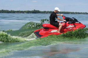 image of a red jet ski sending up waves of green water