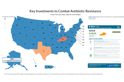 image of interactive us map: Key investments in antibiotic resistance