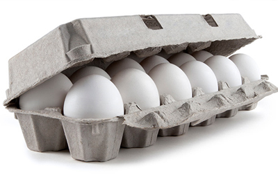full carton of eggs, slightly open