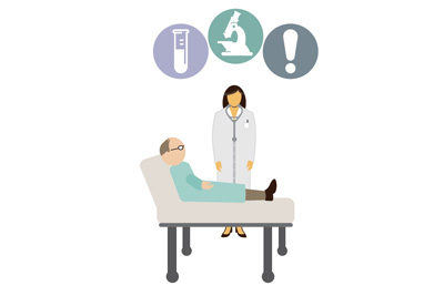 Vector style image of man in hospital bed with a doctor standing by. Above three circles with a vial, microscope and exclaimation point. Representing the concept of combating antibiotic resistance