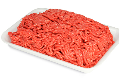 Package of raw ground beef