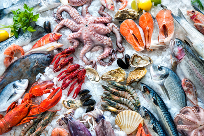image of various seafood on ice